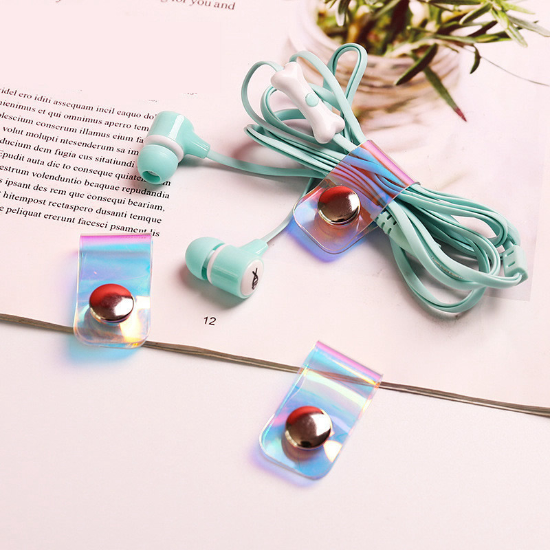 Buckle Organizer Accessory Earphone-Protector Cable-Winder Laser Transparent USB