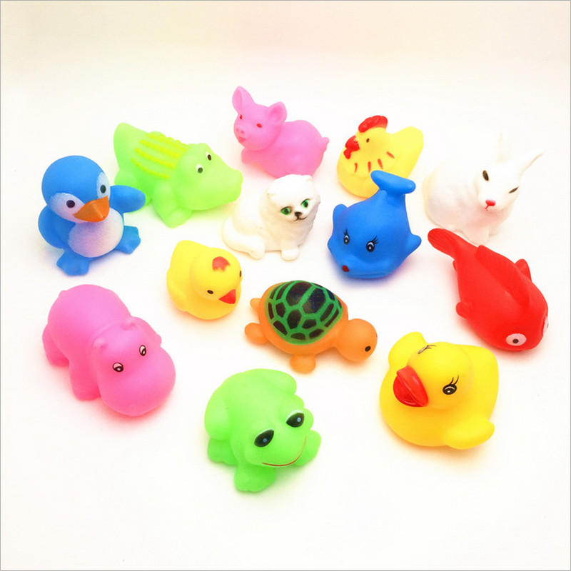 Toys & Hobbies Classic Toys Sporting 13pcs Colorful Soft Rubber Float Squeeze Sound Squeaky Bathing Toy For Baby Different Animals Bathing Toy Lovely Mixed Animals