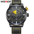 WEIDE Hot Fashionable Mens Leather Wristwatch LCD Quartz Dual Movement Analog Display Casual New Design Waterproof Men Watches