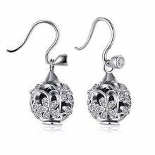 2017 Venta al por mayor genuino 925 plata esterlina Flores hollow joyería Fina pendientes de Cristales de Swarovski para la mujer
