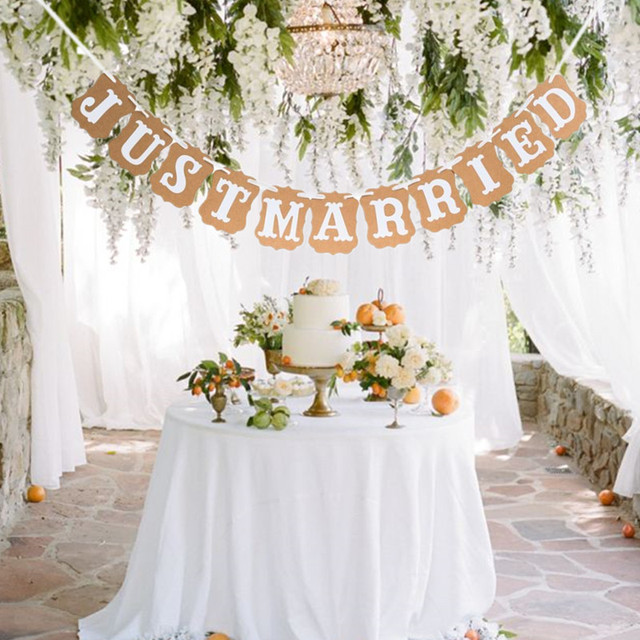 decoración de la boda vintage apenas casado boda banner foto booth