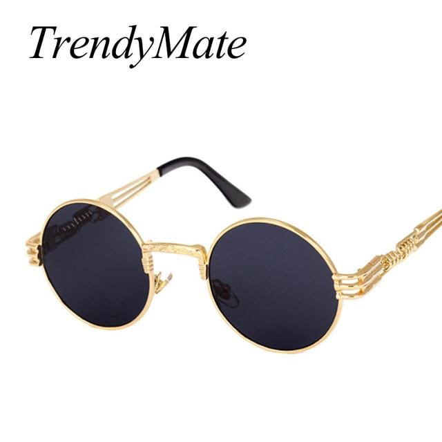 2b0d1ebf9ee37 TrendyMate Luxo Metal óculos de Sol Redondos Homens Revestimento de óculos  de Sol Steampunk Retro Vintage