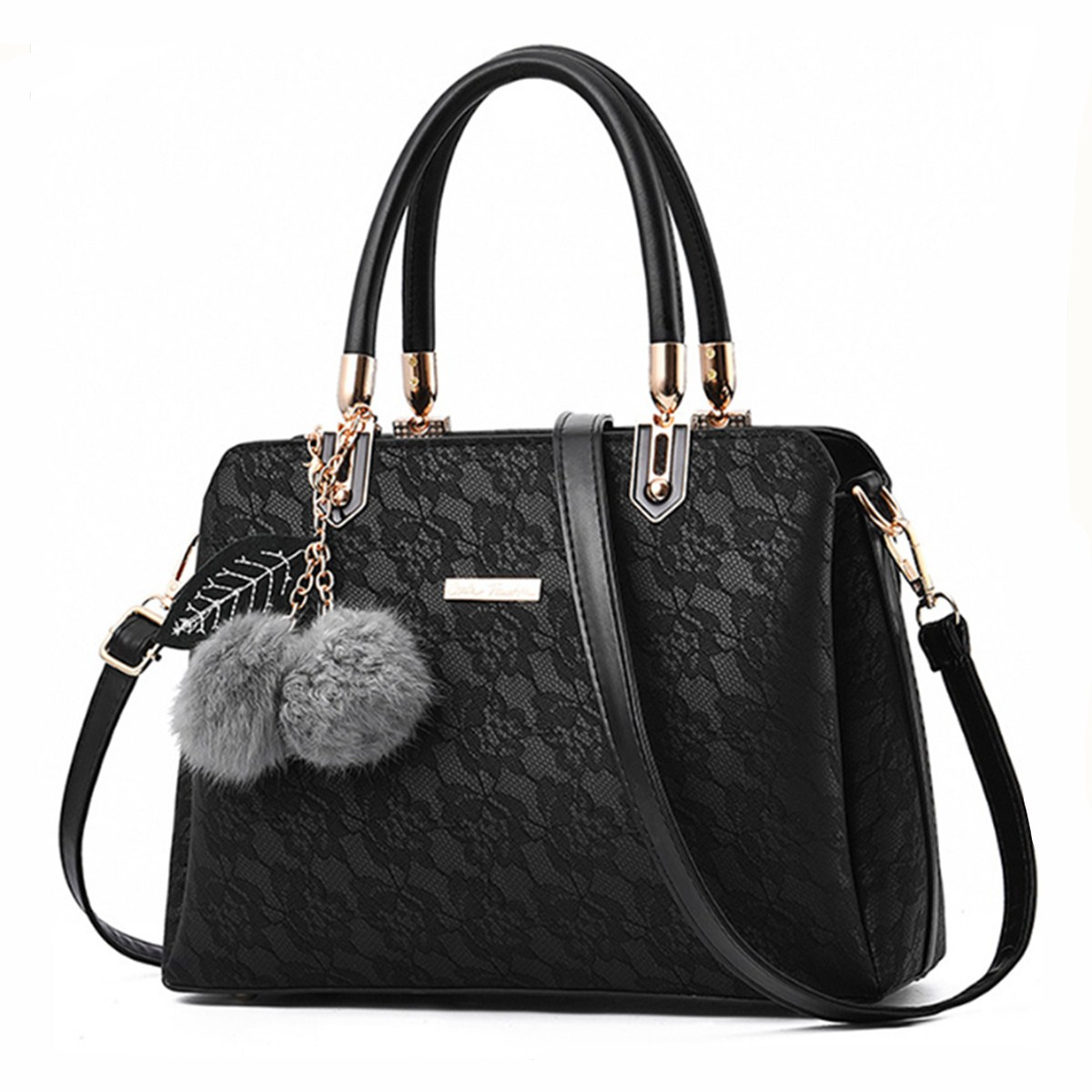 Female bag 2018 new fashion embroidery Lace handbag Europe and America Leather ladies shoulder bag can be slung With Hairball aetoo the new oil wax cow leather bags real leather bag fashion in europe and america big capacity of the bag