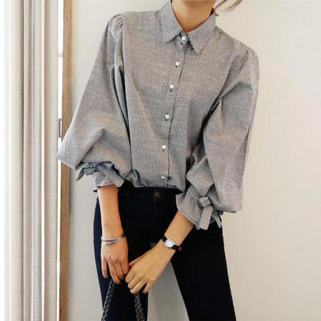 綿3分袖ブラウス2017春スタイル韓国かわいいファッションちょう結び緩いスリムカジュアルストライプターンダウン襟トップス