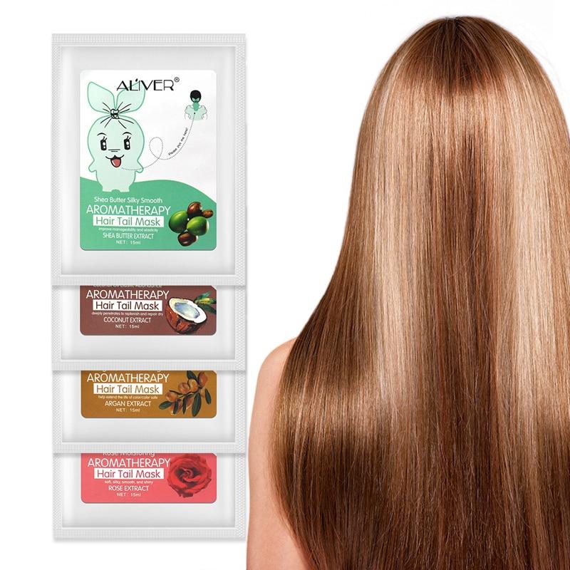 ALIVER 4 Pcs Pflanze Rose Coconut Oliven Avocado Haar Maske Haar Schwanz Maske Glättung Feuchtigkeitsspendende Öl Haar Behandlungen Haar Pflege maske