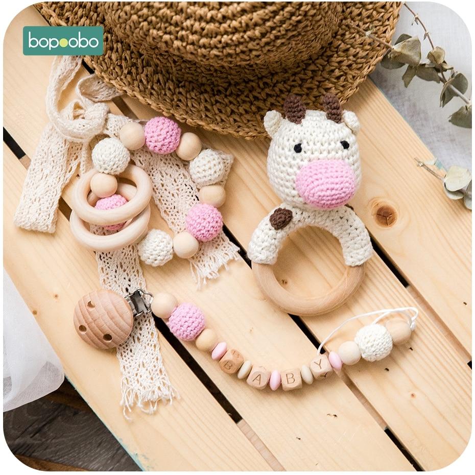 Bopoobo anneau de dentition en Silicone | Pince de dentition pour bébé, poussette, activité de berceau, perles personnelles, Clip sucette en chaîne, hochet en bois, anneau de dentition