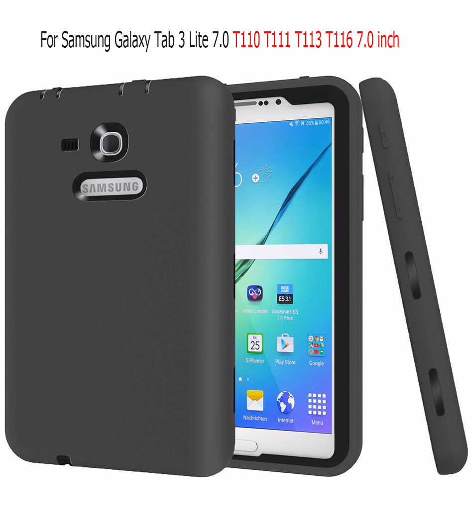For Samsung Galaxy Tab 3 Lite 7.0 SM-T110 T111 T113 T116 7.0 inch tablet Case Kids Safe Heavy Duty Shockproof Silicone Cover