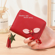 Women wallets Leather Small Brand Mini Women flower Wallets Purses Female Short Coin Zipper Purse floral Credit Card Holder 398