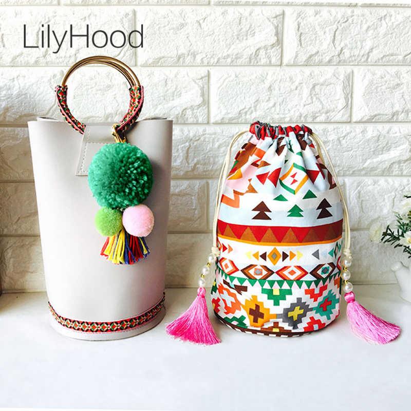 LilyHood Women Composite Handle Tote Bags Female Boho Chic Tribal Ibiza  Gypsy PU Leather Pom Pom 69eaf24c0d7d