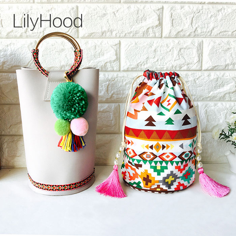 LilyHood Women Composite Handle Tote Bags Female Boho Chic Tribal Ibiza Gypsy PU Leather Pom Pom Fringe Cute Small Shoulder Bag