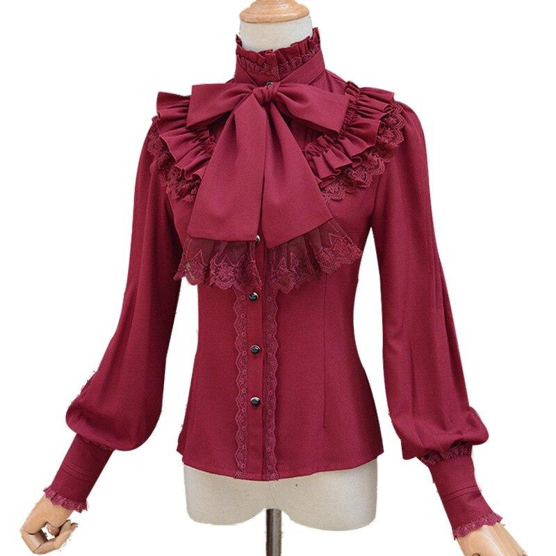 Vintage LOLITA Wine Red Black Blue White Long Sleeve Chiffon Shirt 2018 Women Stand Collar Elegant Blusas Female Gothic Blouse