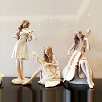 European music beauty Angel figurines resin Arts and Crafts lovely sculpture miniature wedding gift home decor accessories