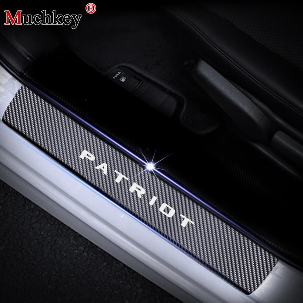 4D углеволоконная виниловая Стикеры для JEEP Patriot порога защитное устройство дверной Шаг плиты протектор Интерьер автомобиля аксессуары 4 шт.