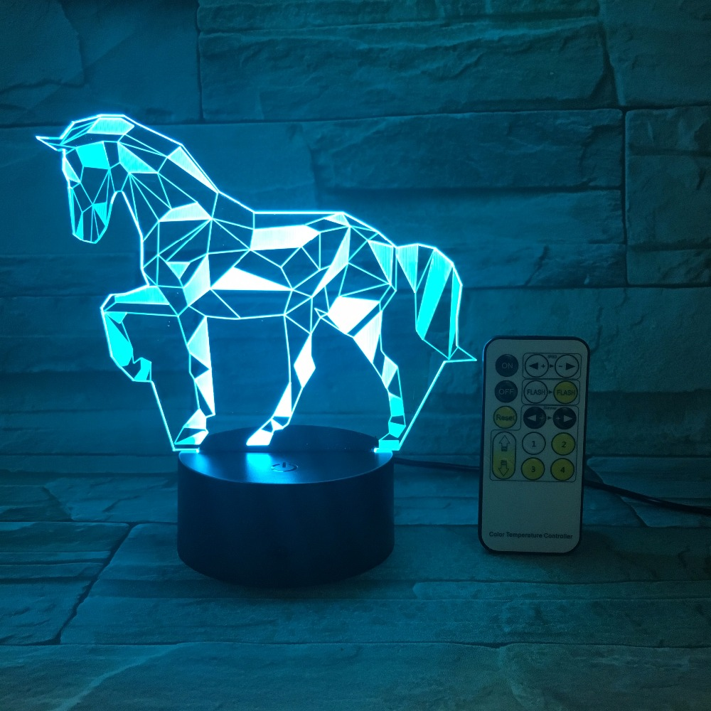 Remote Or Touch Switch Acrylic 3D Stereo Vision Lamp Horse Interior Decorative Lamp 7 Color Change Touch Bedroom Bedside Lamp