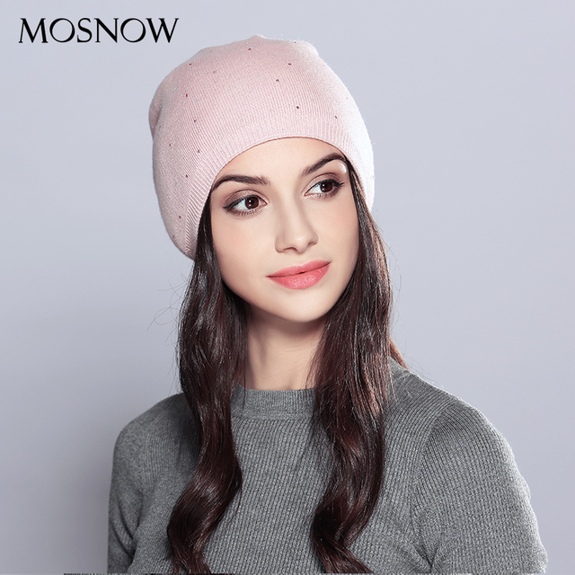MOSNOW Winter Hats Wool Women s Autumn Vogue 2018 Brand New Rhinestones  Warm Double Layer Knitted Hat Female Hats Caps  MZ706 569ced0186a