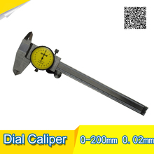 Wholesale prices SHAHE 200 mm stainless steel Shockproof Dial Caliper Dial Caliper with 0.02mm measuring Free Shipping