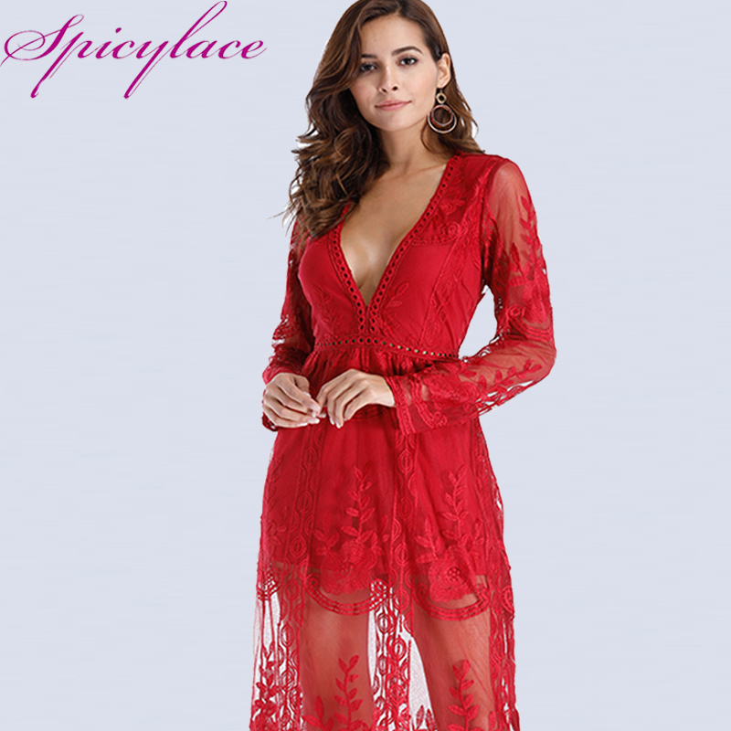 Spicylace Women Long Sleeve See-through Hollow Mesh Floral Lace Red Maxi Dress Plus Size Casual Dresses vestidos
