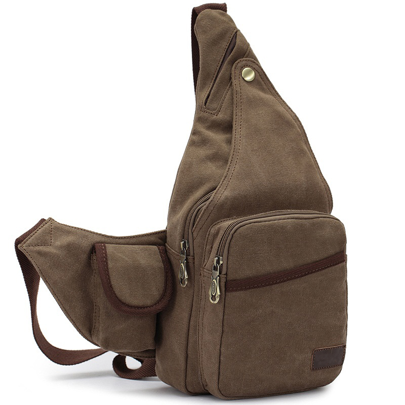 ФОТО Retro Men's Chest Bag Casual One Shoulder Inclined Canvas Triangle Trend Pack Women Single Backpack Rugzakken Bolsas