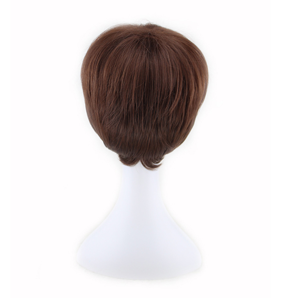 Factory Price 1pc Men Fashion Brown Men Inner Warping Short Hair 18cm For Carnivals Party Cosplay Naturally Wigs Stand Hot Mar18
