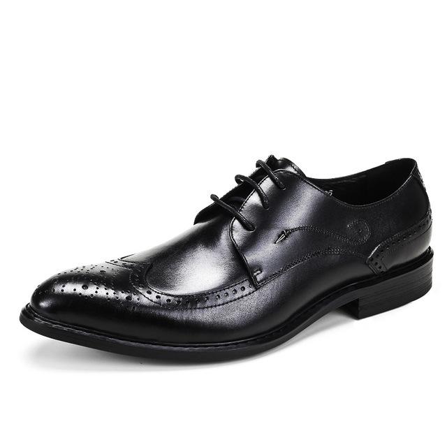 QYFCIOUFU Luxury Brand Men Oxfords Shoes Wedding Party Brogue Shoes Men Dress Shoes Genuine Leather Formal Business Shoe US 11.5