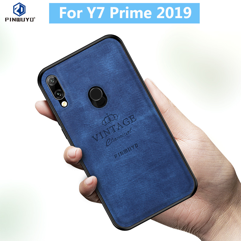 for Huawei Y7 Prime 2019 Case Original PINWUYO VINTAGE PU Leather Protective Phone Shockproof