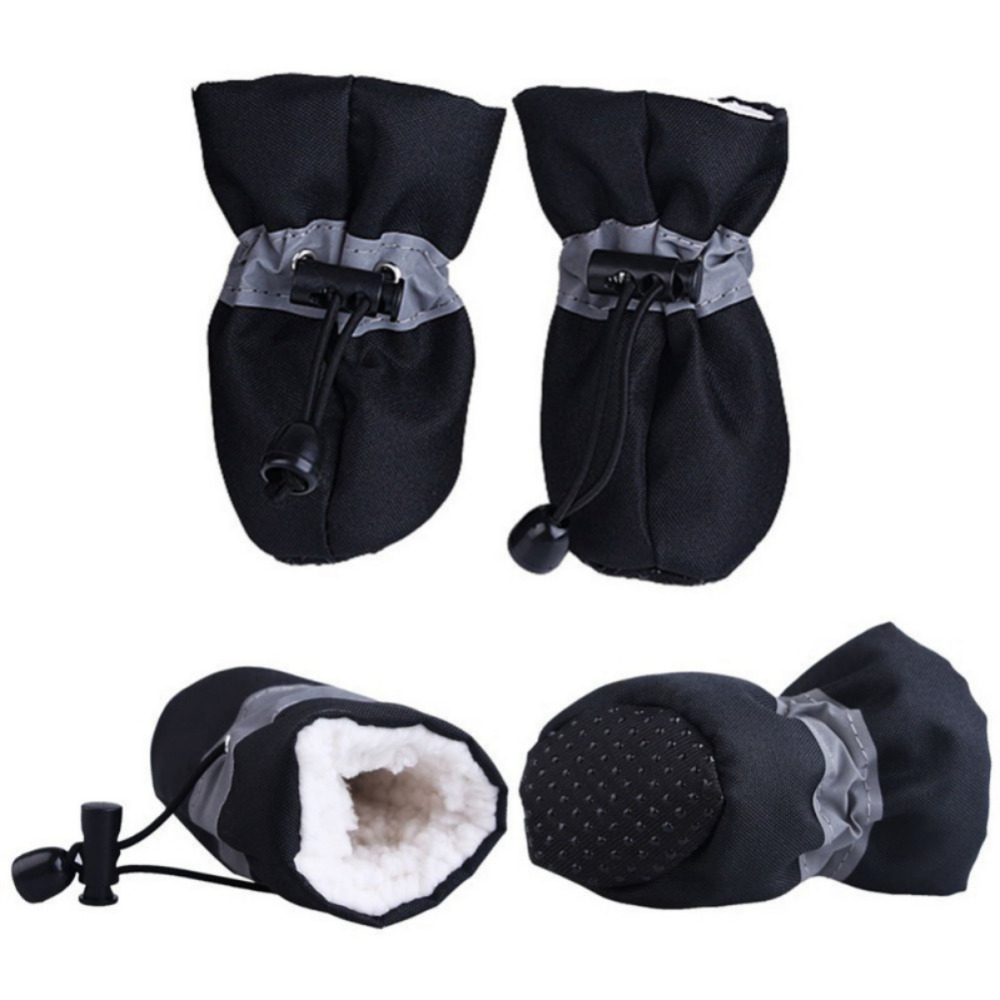 4Pcs set Pet Dogs Winter Shoes Rain Snow Waterproof Booties Socks Rubber Anti slip Shoes For Small Dog Puppies Footwear in Dog Shoes from Home Garden