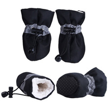 4Pcs/set Pet Dogs Winter Shoes Rain Snow Waterproof Booties Socks Rubber Anti-slip Shoes For Small Dog Puppies Footwear reflective dog shoes socks winter dog boots footwear rain wear non slip anti skid pet shoes for medium large dogs pitbull