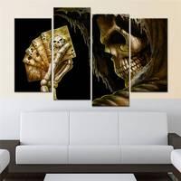 Moderna Da Lona Pintura Quadro Hd Impresso Imagens Da Arte Da Parede 4 Peças de Poker Crânio Cabeça Cranial Pessoa Quarto Cartaz Decoração de Casa