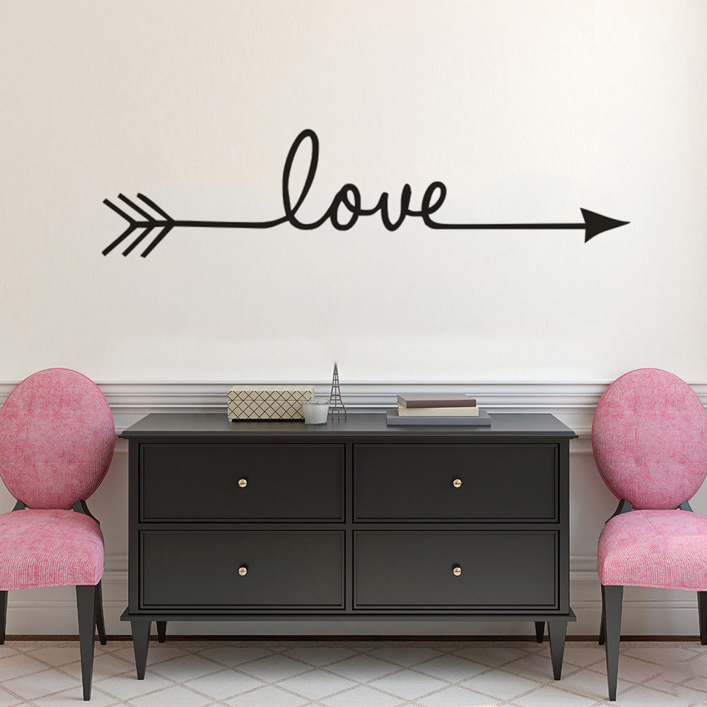 Love Arrow Saying for Wall Lettering Sticker Boho Home Decor Room Decoration Vinyl Art Removable PosterW129