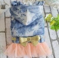 1 Pcs PET Dog Cat đáng yêu ren denim tutu công chúa váy Doggy Autumn Winter váy Puppy thời trang Bowknot Dresses cung cấp trang phục