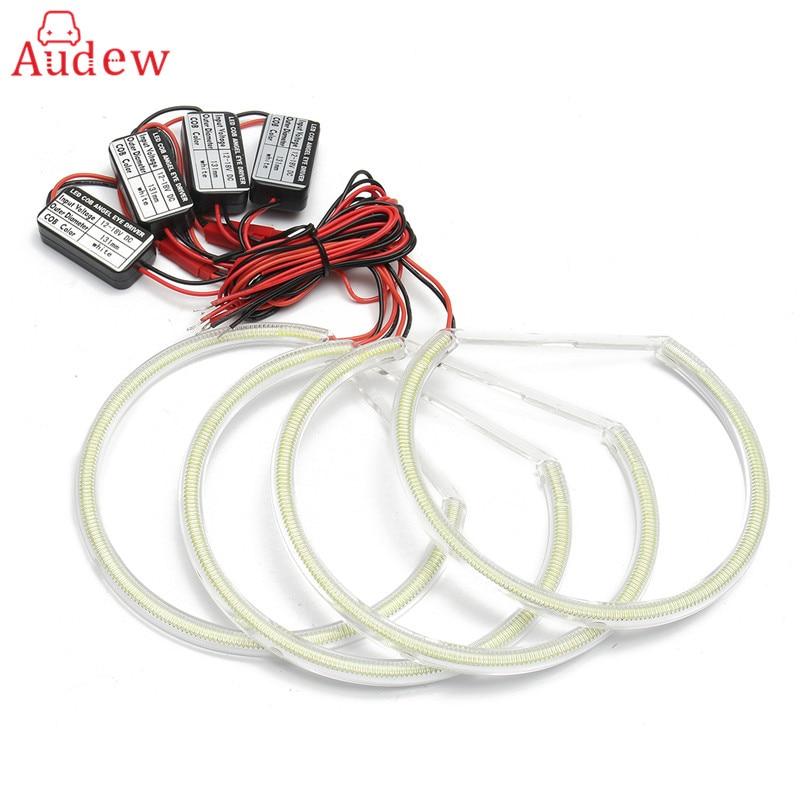 4Pcs For HID Style LED 102cob Angel Eyes Halo Rings Kit Light For BMW E38 E39 E46 E36 LED Headlights car styling 131mm 4 led cob angel eyes halo rings kit for bmw e46 e39 e38 e36 3 5 7 series daytime runing lights drl retrofit