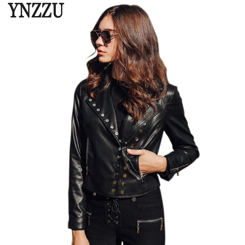 YNZZU 2018 Autumn New Fashion   Leather   Jacket Women Solid Rivet Casual Long Sleeve Slim Motor PU   Leather   Jacket Coat Women YO562
