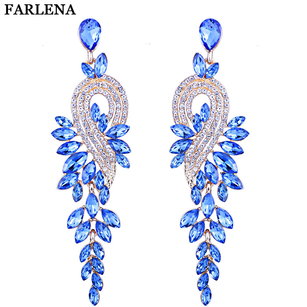 FARLENA 5 Color Avaliable Fashion Wedding Jewelry Crystal Leaf Long Drop Earrings Luxury Bridal Earrings for Women Free shipping