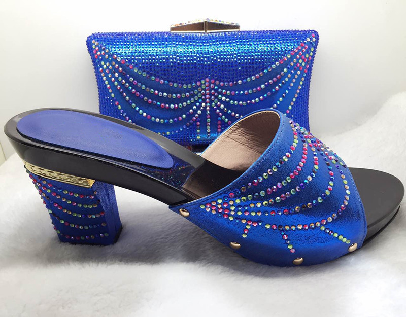ФОТО Shoes and Bag Set Decorated with Rhinestone Italian Shoes with Matching Bags Matching Shoes and Bags for African Party!HJJ1-38