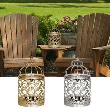 1 Uds jaula metálica para pájaro candelero romántico de boda dorado y linterna plateada Vintage pequeñas linternas para velas de decoración del hogar