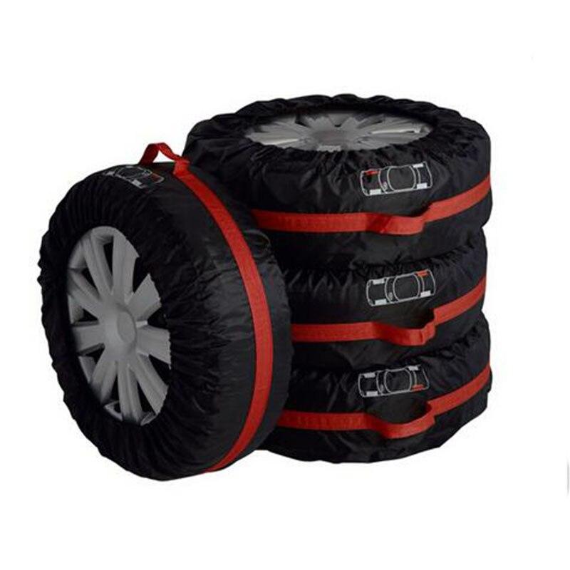 Чехол для автомобильных запасных шин для лета и зимы, полиэстер, авто защита шин, сумки для хранения, черные колеса, аксессуары для седана, внедорожника - Цвет: Big Size Black Red