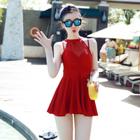 2018 Two Piece Suits Swimwear Black Red Sexy Cross Halter Women Swimwear One Piece Swimsuit Black