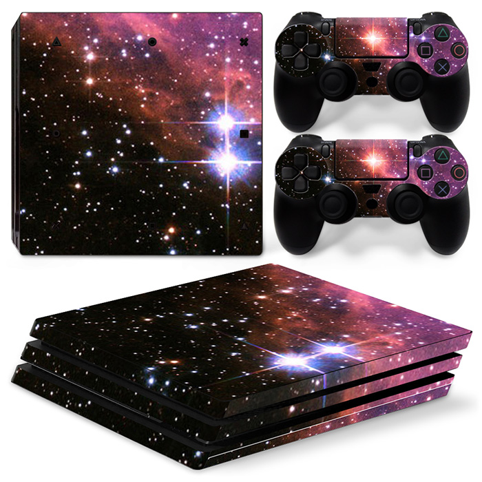 free drop shipping Pink style skin for starry sky for PS4 Pro console and two controller decals #TN-P4P0ro-1307