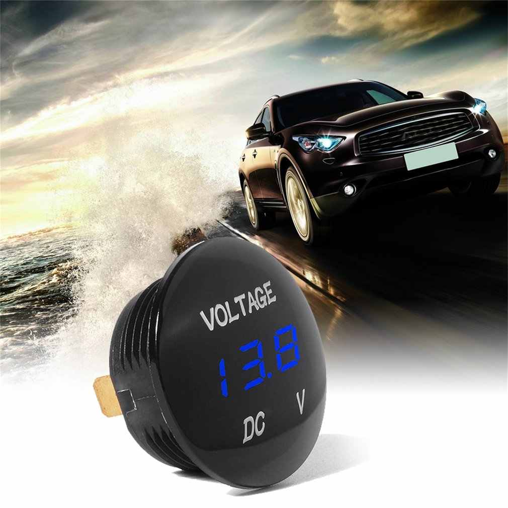 Waterprof Car LED 12-24V Short Circuit Protective Battery Monitor Accurate Digital Display Voltage Meter Thermometer