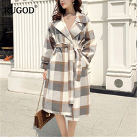 RUGOD Newest Wool Trench Coat Women Plaid Long Style Coat Long Sleeve England Style Women Winter Clothes abrigos mujer invierno