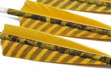 Longbowmaker 12PCS Yellow Camo Tukey Feather Arrows For Longbow With Carbon Shaft CYCT9