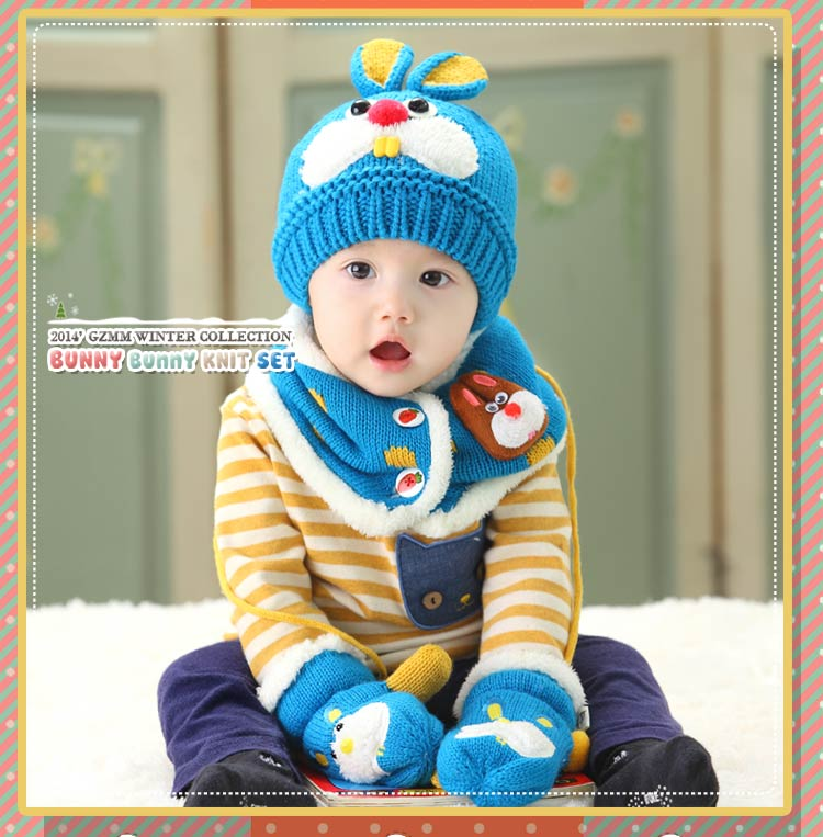 72490115653 3 pcs baby girl knitted hat scarf and glove set children new 2018 winter  fashion kids boy navy blue rabbit hat christmas gift-in Hats   Caps from  Mother ...