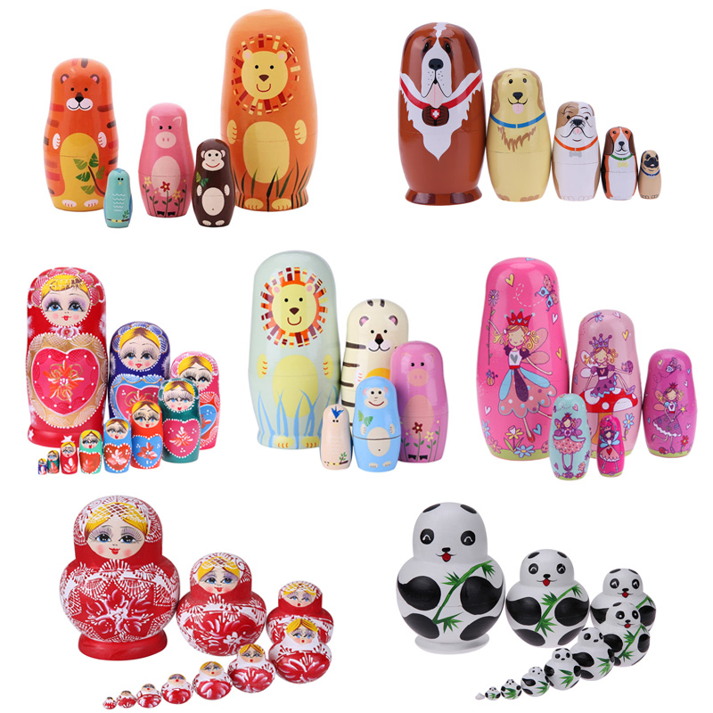 27 Styles Boys Girls Wooden Matryoshka Dolls Toys Russian Nesting Dolls Best Wishes Kids Christmas New Year Gift Handmade Crafts