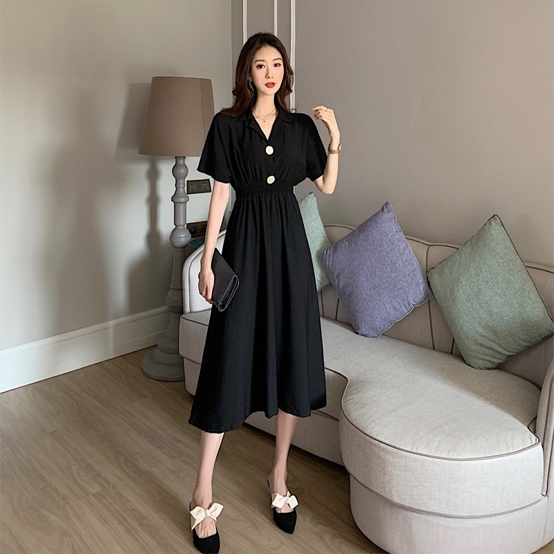 Women Maxi Dress Summer Waist Solid Color Elegant Long Sundress Female Plus Size