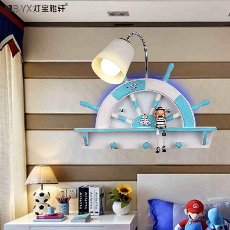 ФОТО Mediterranean Sea The children's room wall lamp bedroom  lamp boy girl led creative lamp night light