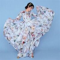 Runway Maxi Dress High Quality New Fashion Summer Long Sleeve Casual Bohemian Holiday Chiffon Dress Women Angel Pattern Floral