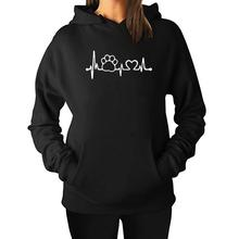 Charming dog paw heartbeat women's hoodie
