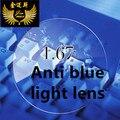 1.67 anti blue ray calidad súper delgada CR39 lentes de la miopía lente asférica de resina vidrios miopes anti luz azul cerca de la vista lentes