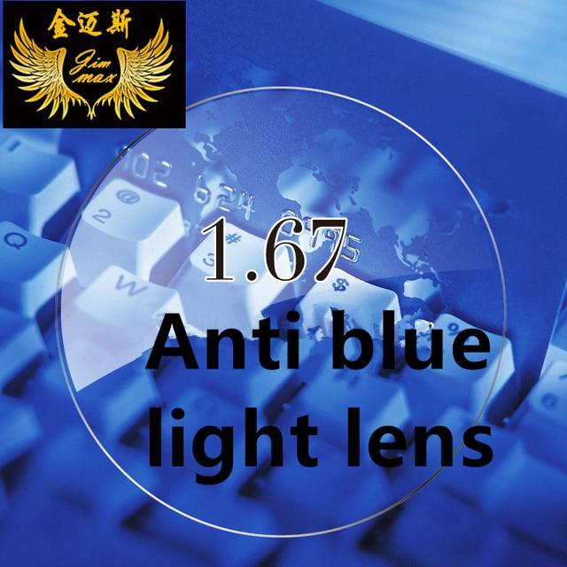 1.67 anti blue ray myopia lenses quality super thin CR39  aspheric resin lens near sight myopic glasses  anti blue light lenses