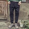 Mens denim empalme casual pantalones 2017 de invierno primavera moda loose hip hop harem pant marca masculinos flojos pantalones K137